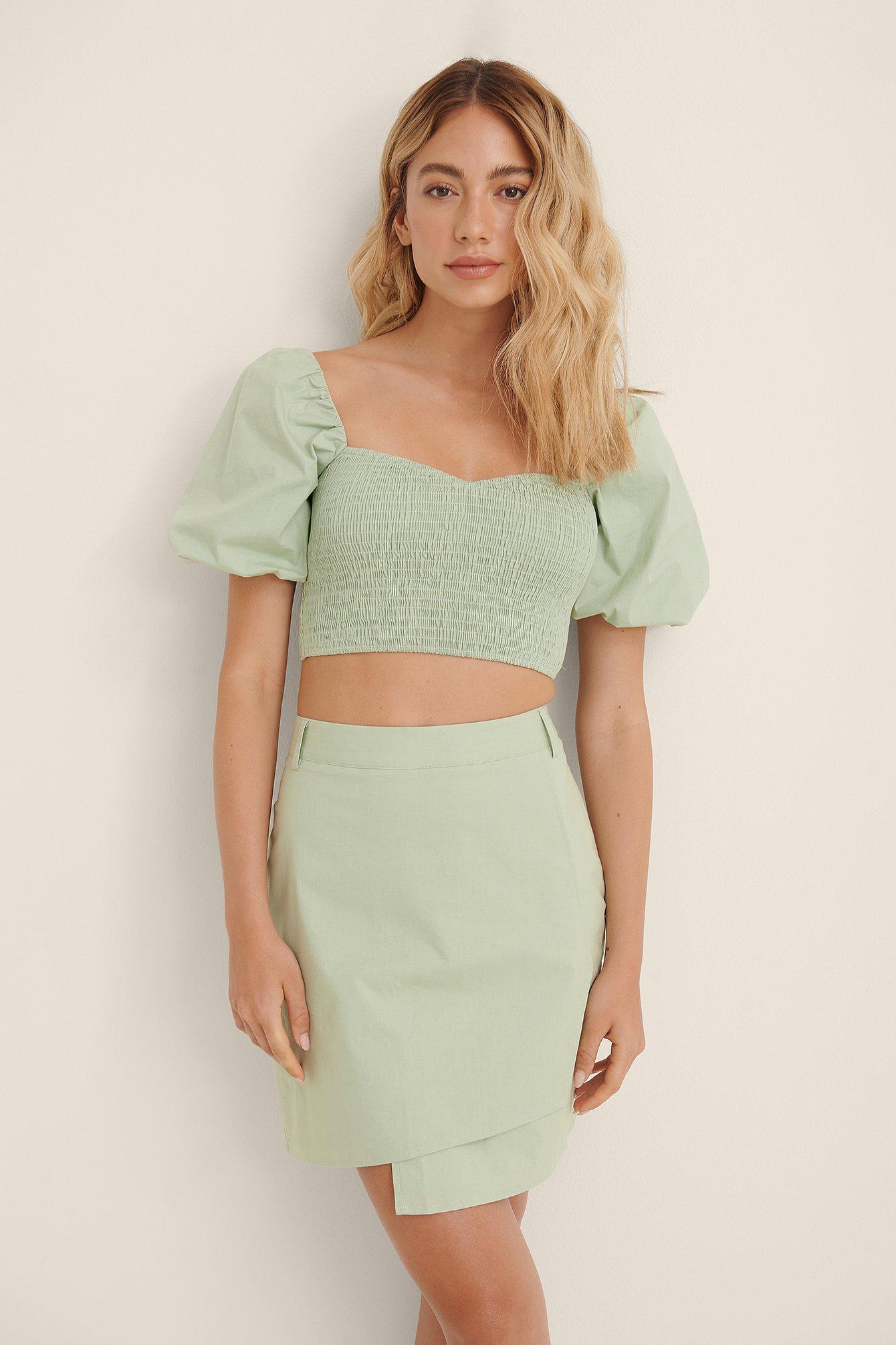 Amaka Hamelijnck x NA-KD Uneven Skirt - Green