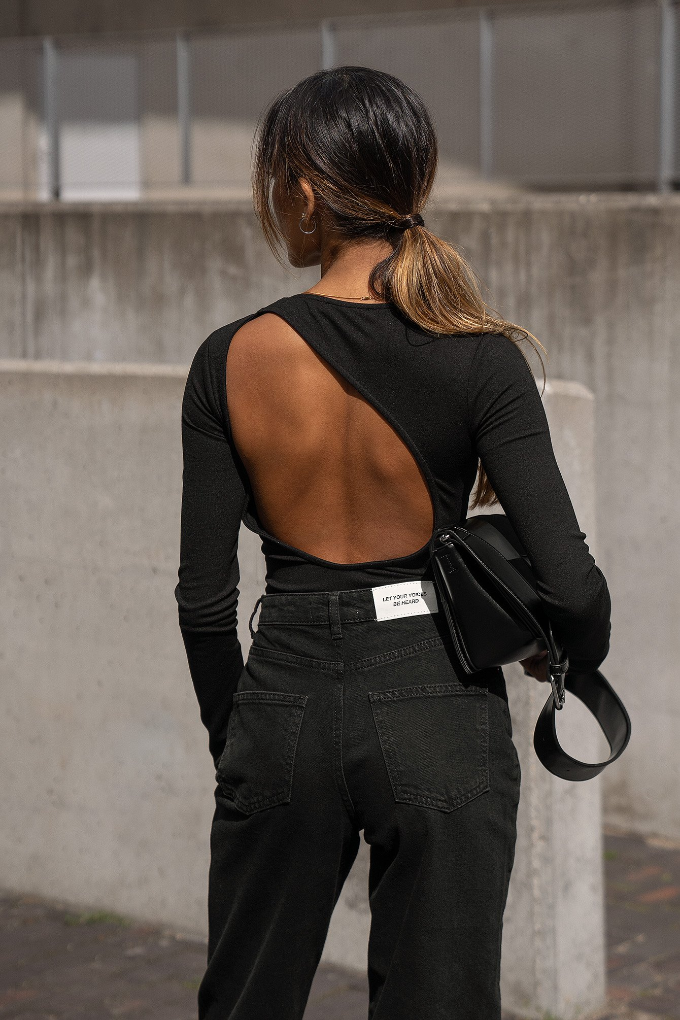 amalie star x na-kd -  Langarmbody mit offenem Rücken - Black