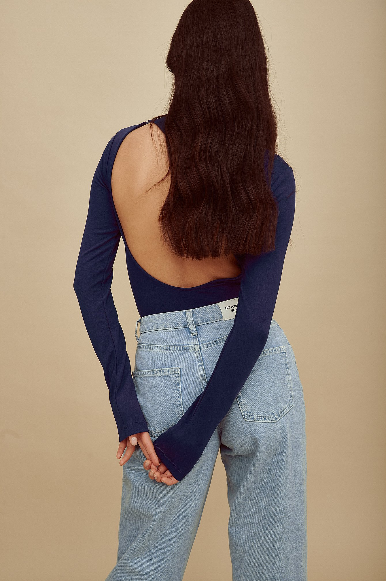 amalie star x na-kd -  Langarmbody mit offenem Rücken - Blue