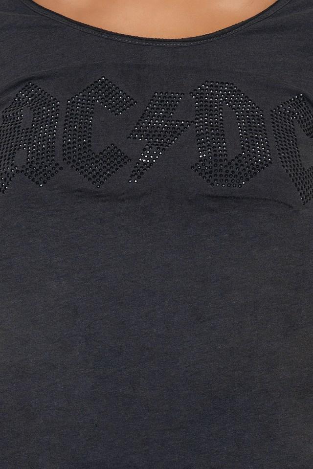 ACDC Ladies Logo T-Shirt Charcoal