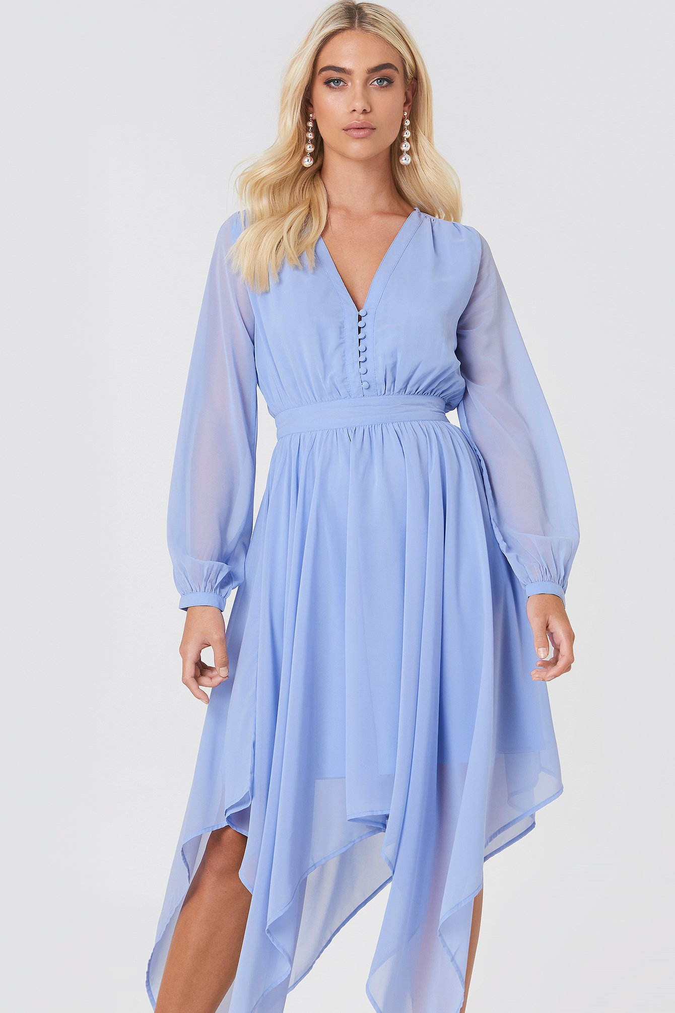 Asymmetric Hem Chiffon Dress NA-KD.COM