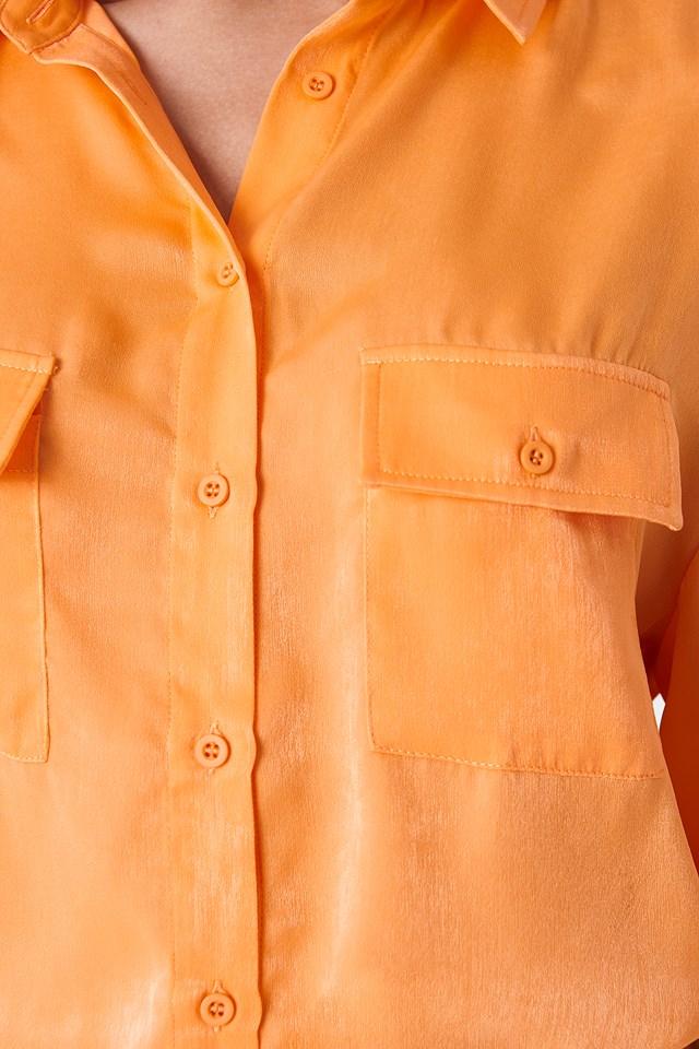 Ballon Sleeve Shirt Orange
