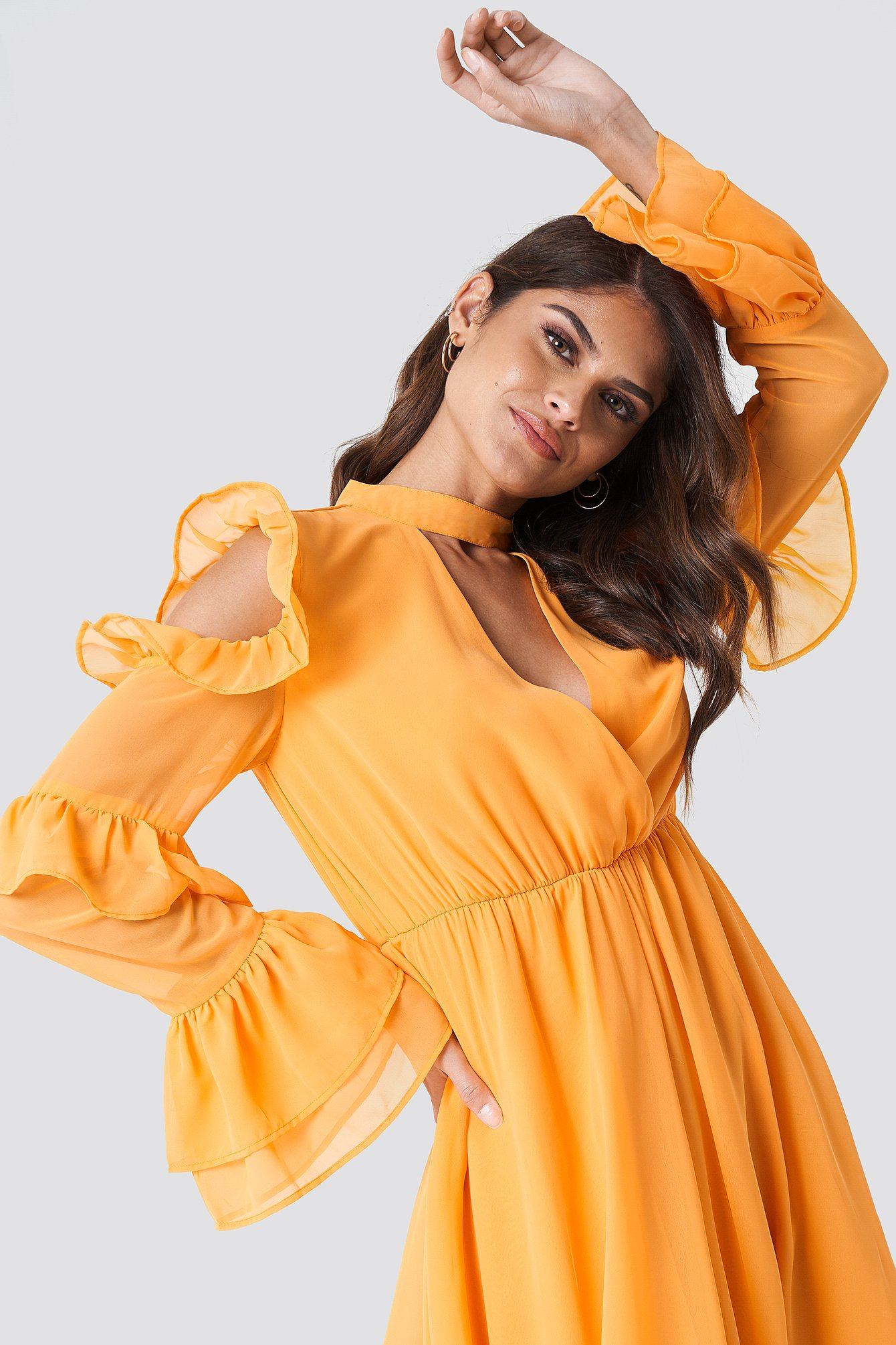 Billede af Andrea Hedenstedt x NA-KD Cold Shoulder Flounce Maxi Dress - Orange