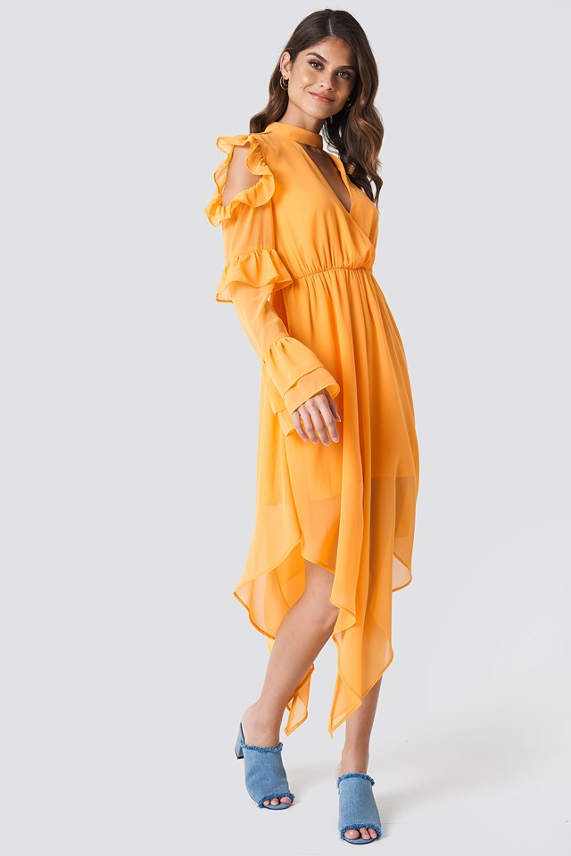 Cold Shoulder Flounce Maxi Dress Orange