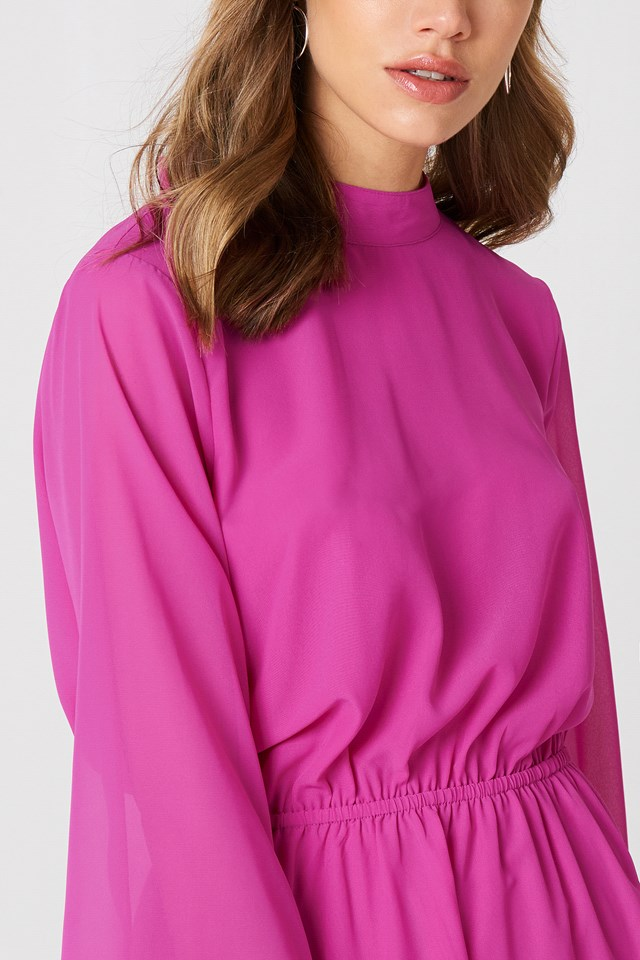 Cut Out Dress Strong Pink