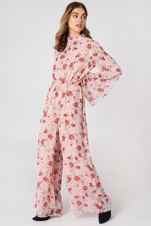 Cut Out Jumpsuit Pink Flower