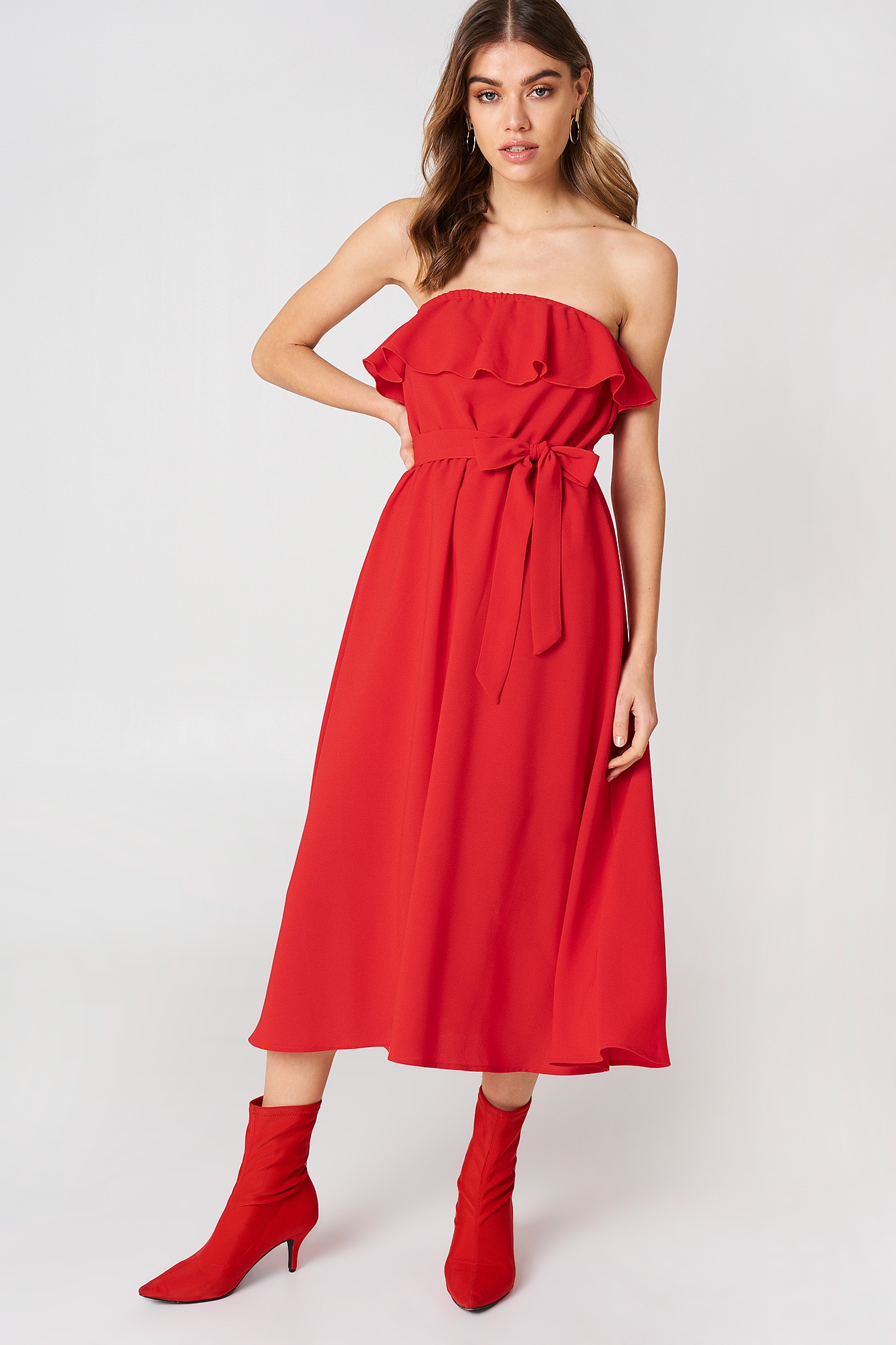 Flounce Midi Dress NA-KD.COM