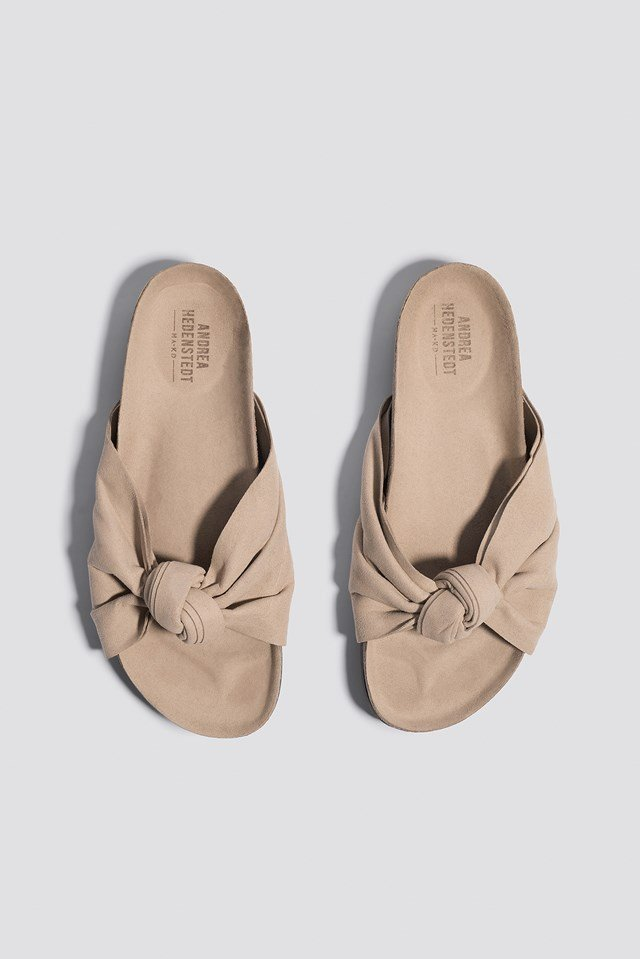 Front Bow Slippers Beige