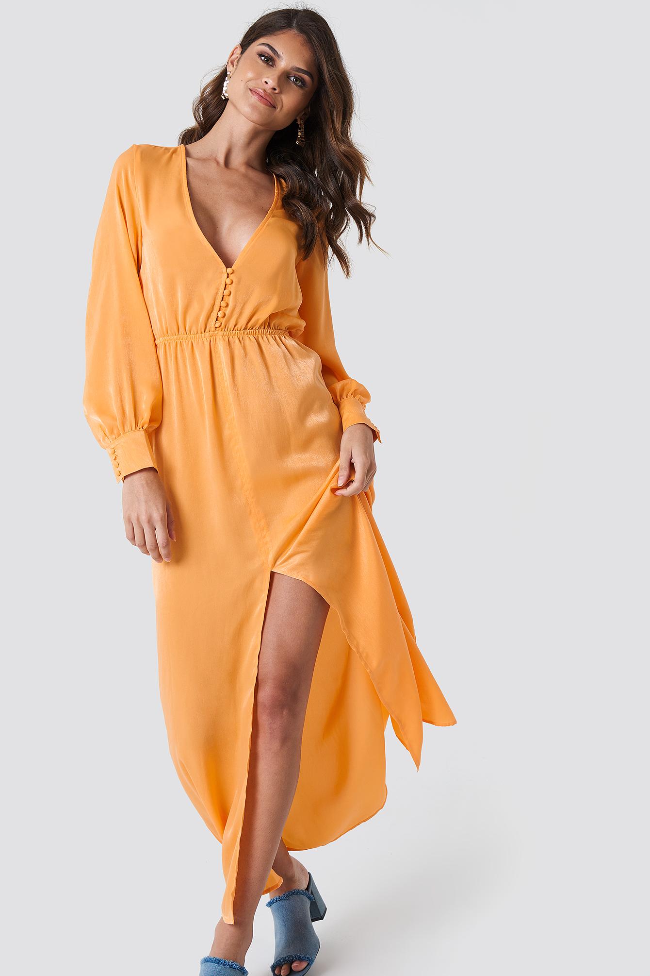 andrea hedenstedt x na-kd -  Front Button Maxi Dress - Orange