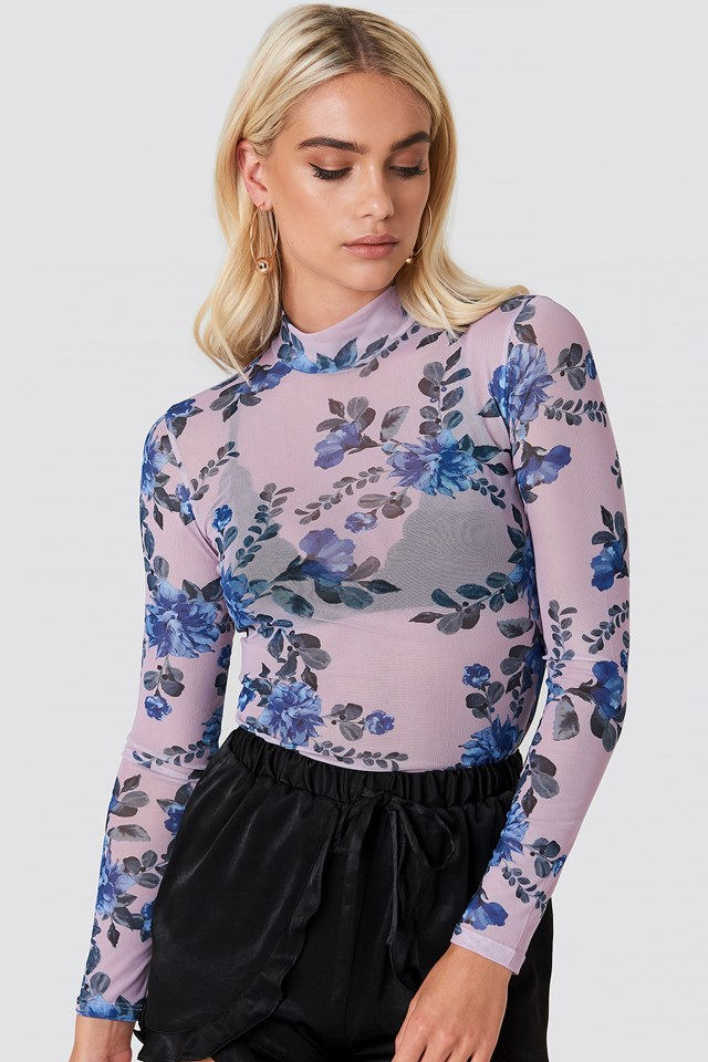 High Neck Mesh Top Lilac Flower