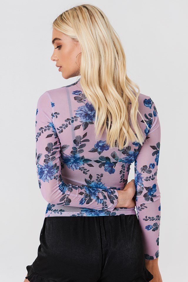 High Neck Mesh Top Lilac Flower