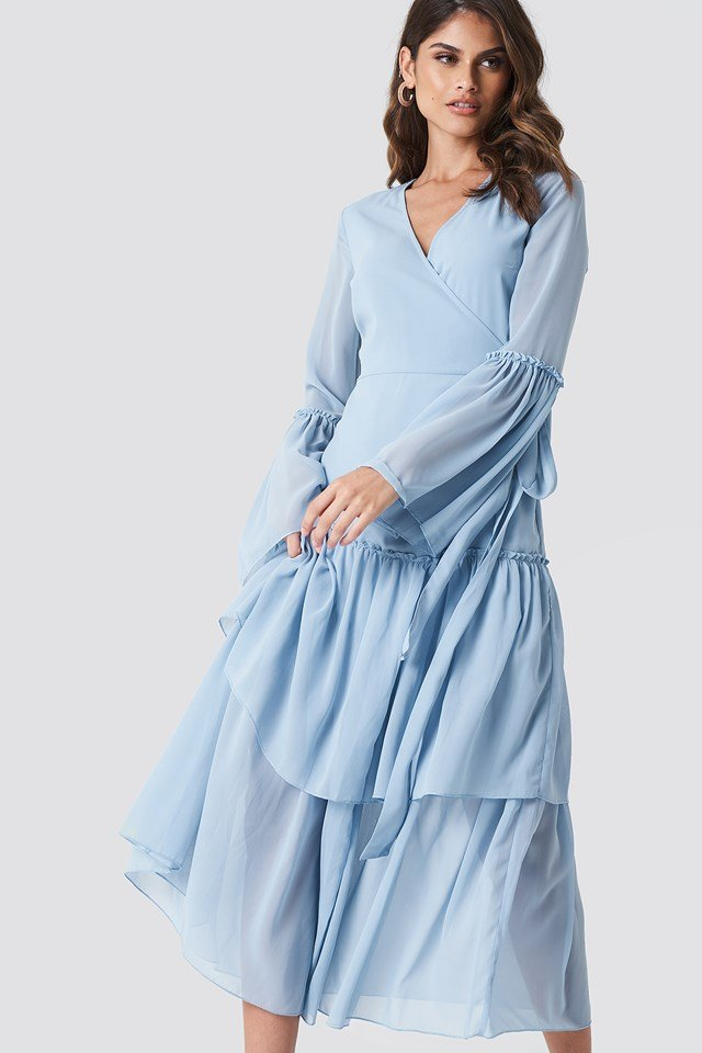 Maxi Overlapped Frill Dress NA-KD.COM
