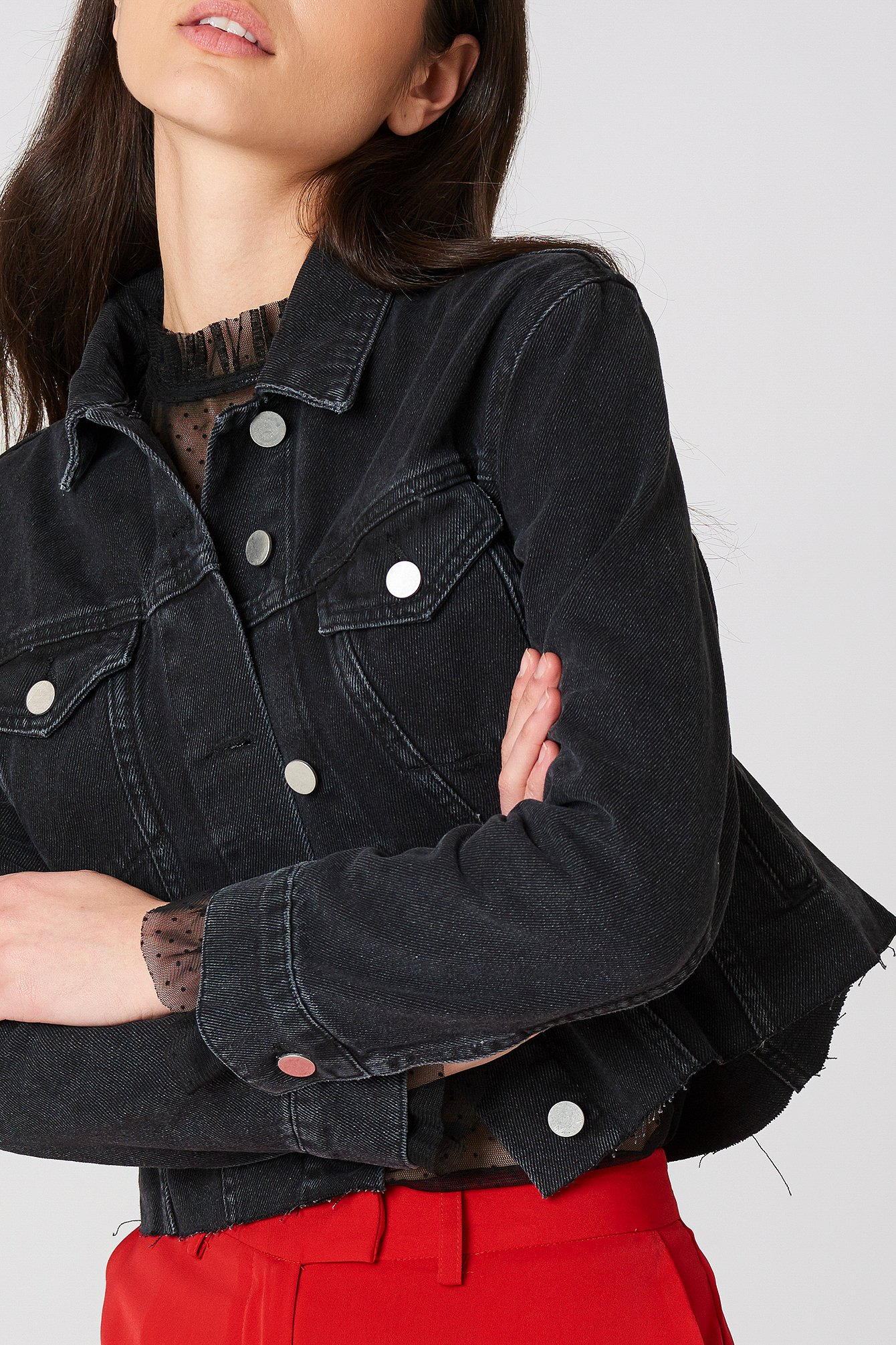 Washed Black Raw Hem Denim Jacket