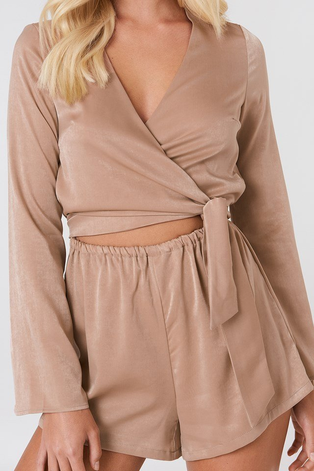 Wrapped Trumpet Sleeve Playsuit Beige