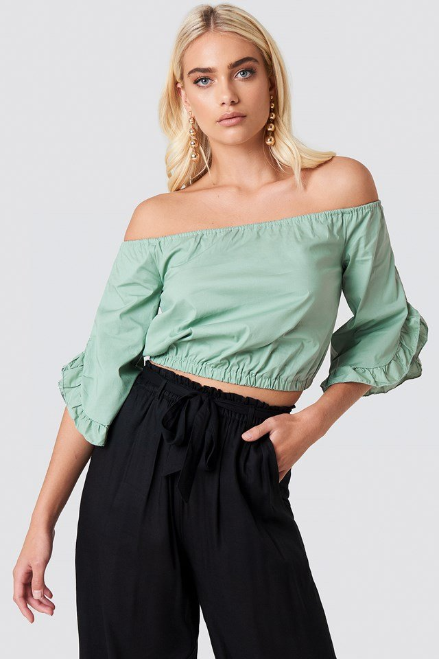 Off Shoulder Flare Frill Top Dusty Green