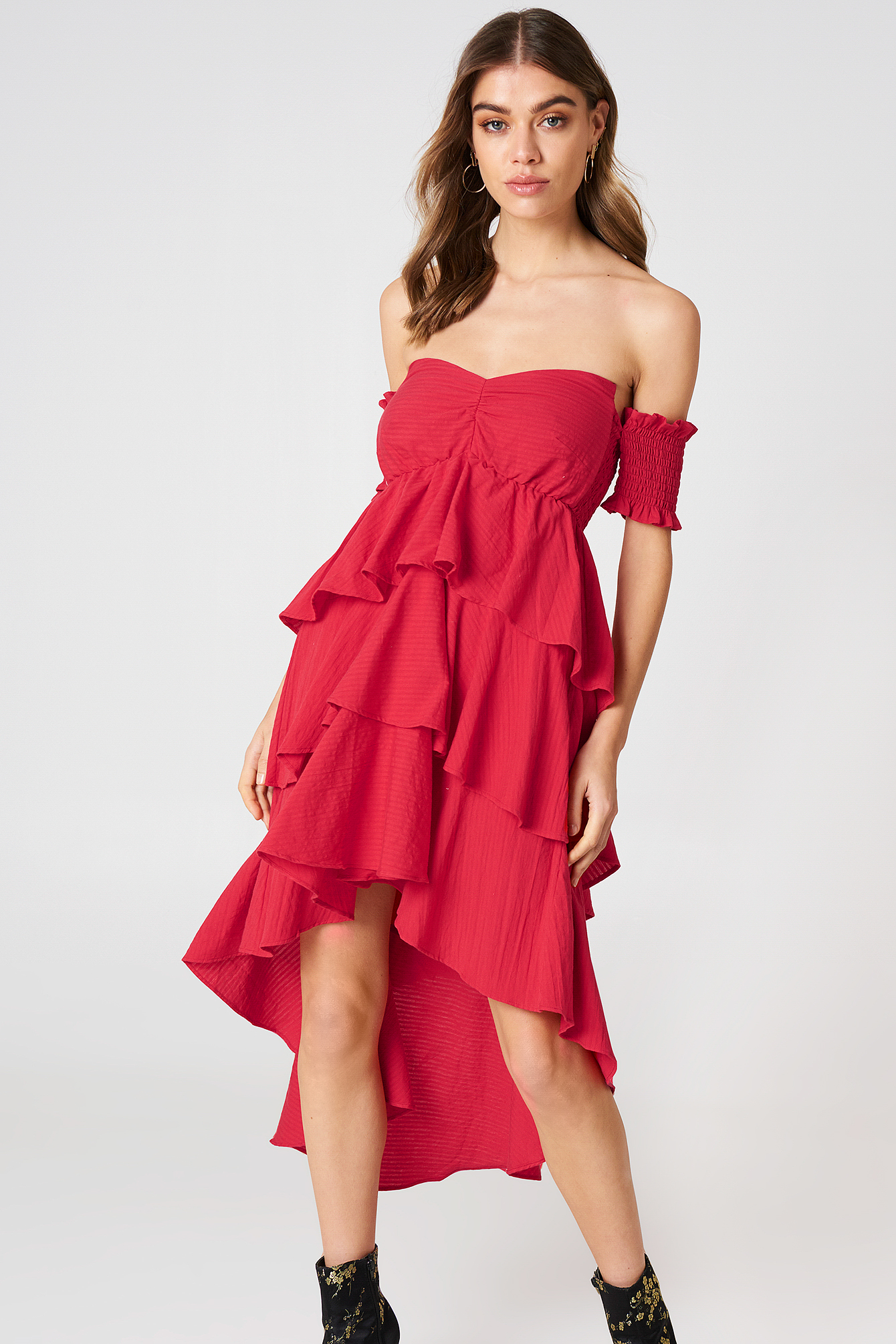 Off Shoulder Frill Dress NA-KD.COM