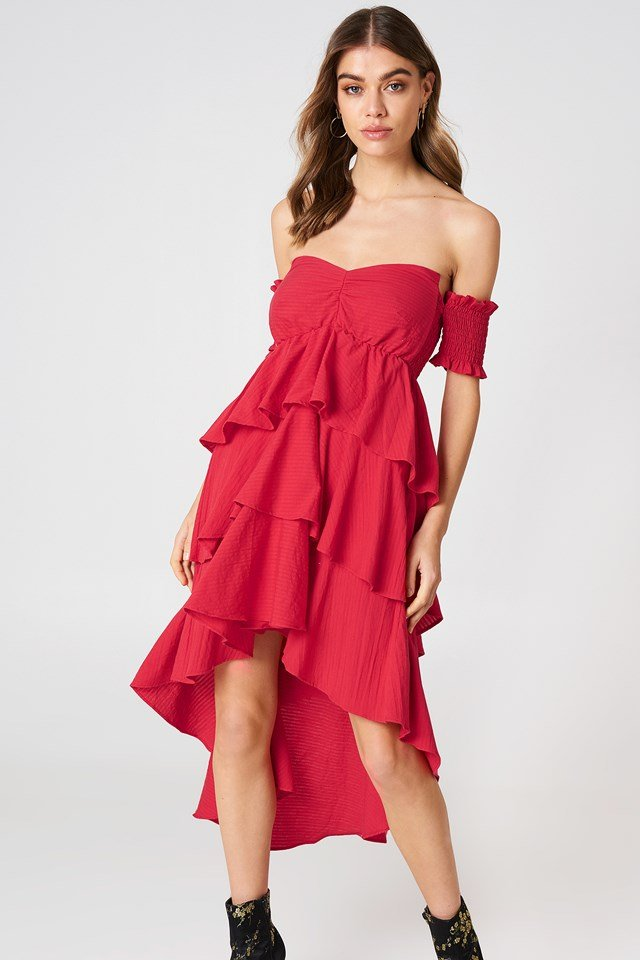 Off Shoulder Frill Dress Red