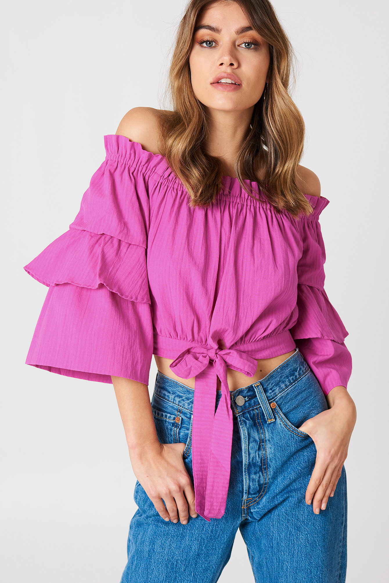 Off Shoulder Frill Sleeve Top NA-KD.COM