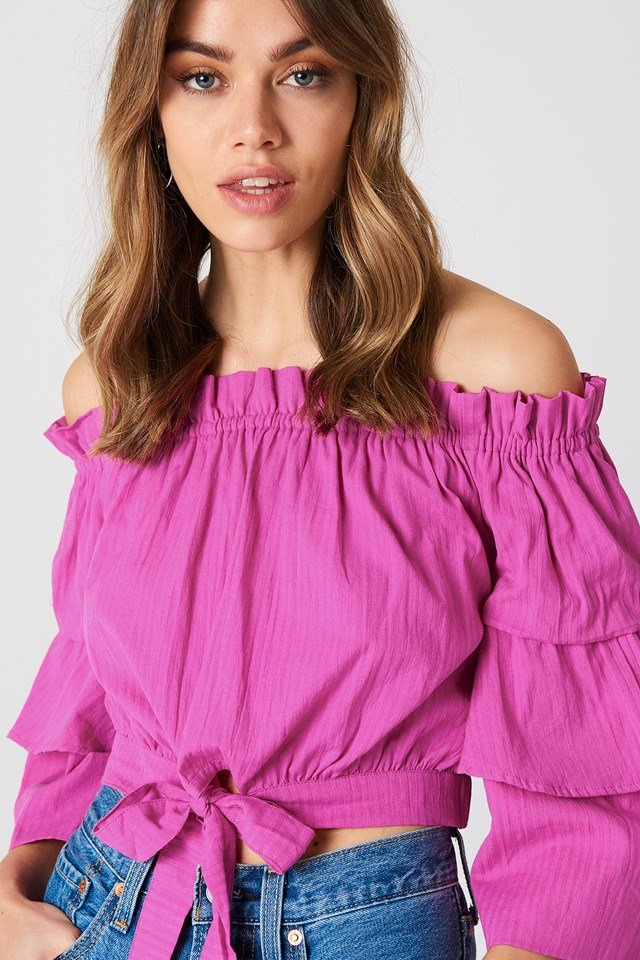 Off Shoulder Frill Sleeve Top Strong Pink