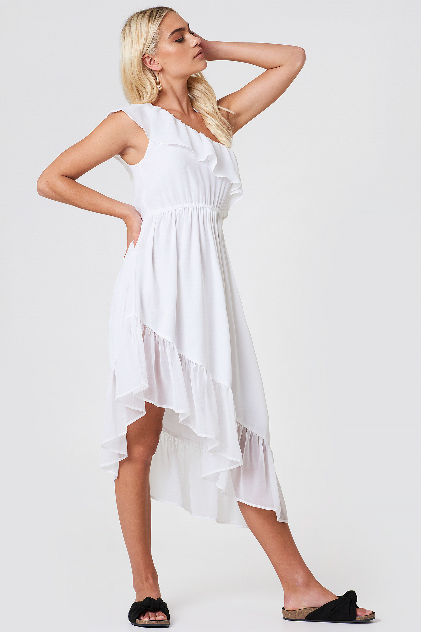 One Shoulder Asymmetric Flounce Dress NA-KD.COM