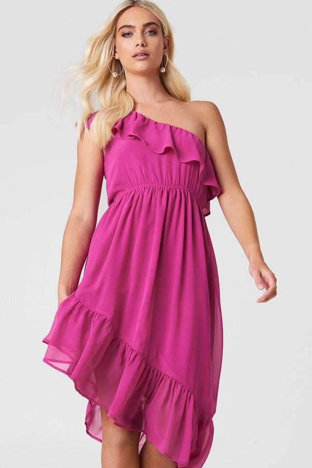 One Shoulder Asymmetric Flounce Dress Magenta