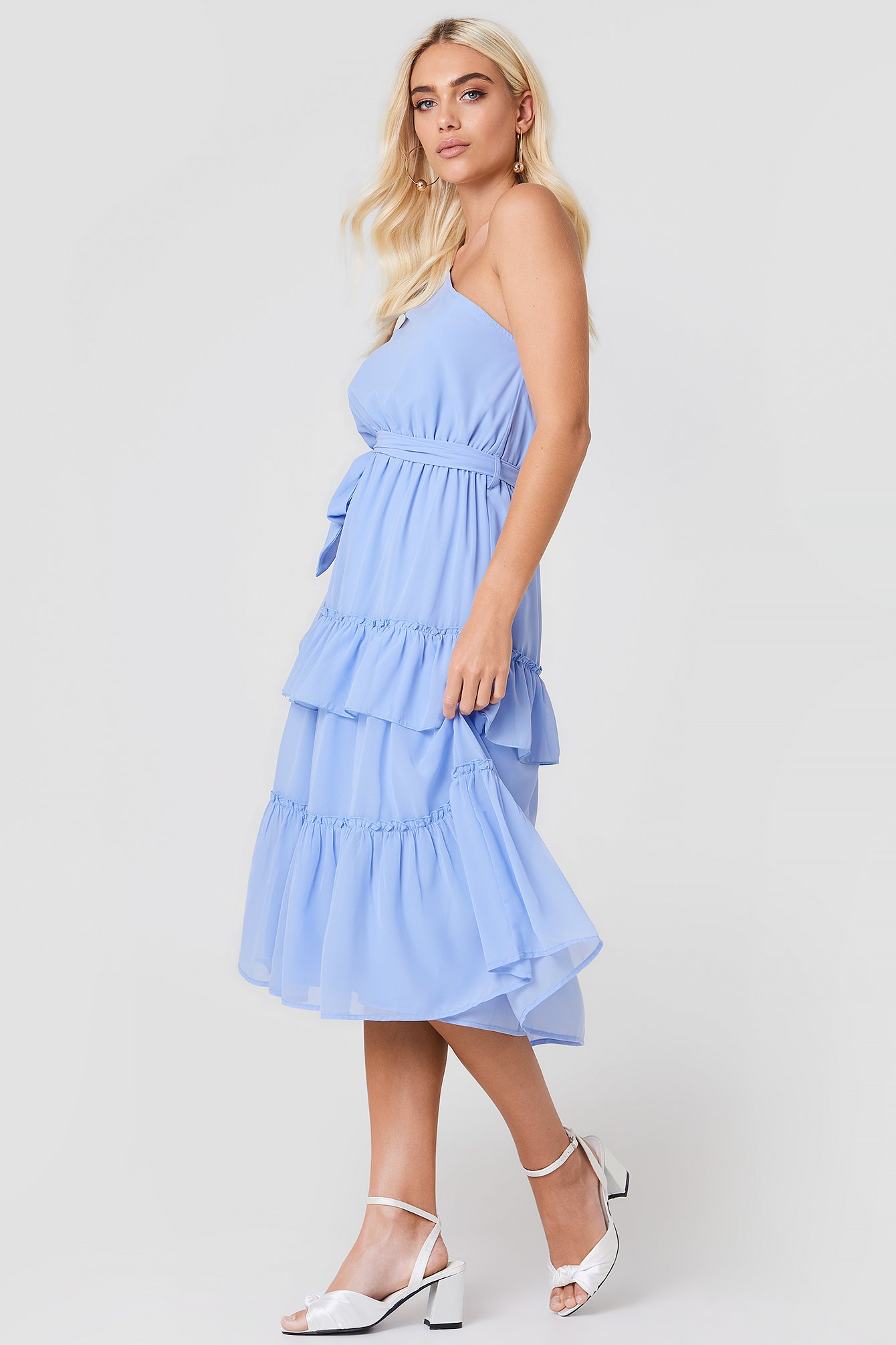 One Shoulder Flounce Midi Dress NA-KD.COM