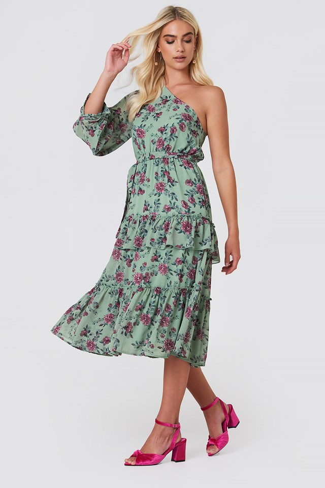 One Shoulder Flounce Midi Dress Green Flower