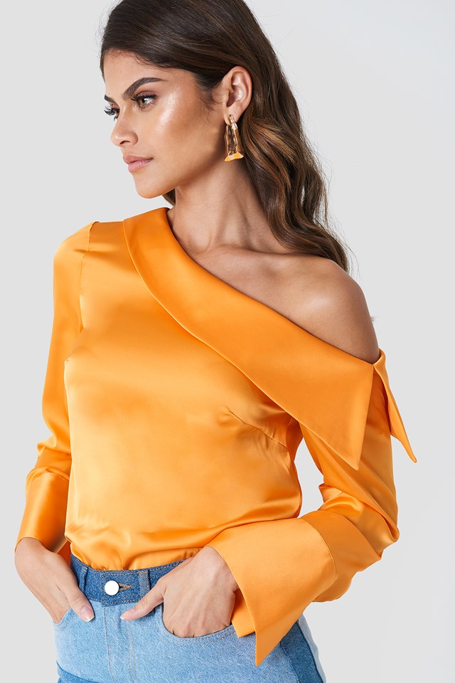 One Shoulder Folded Blouse NA-KD.COM