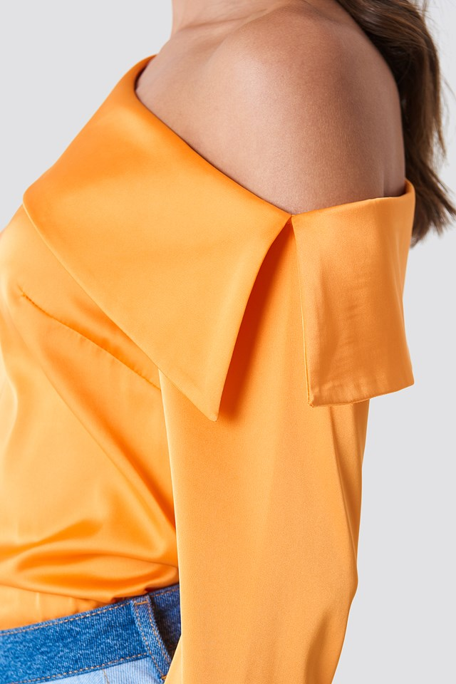 One Shoulder Folded Blouse Orange