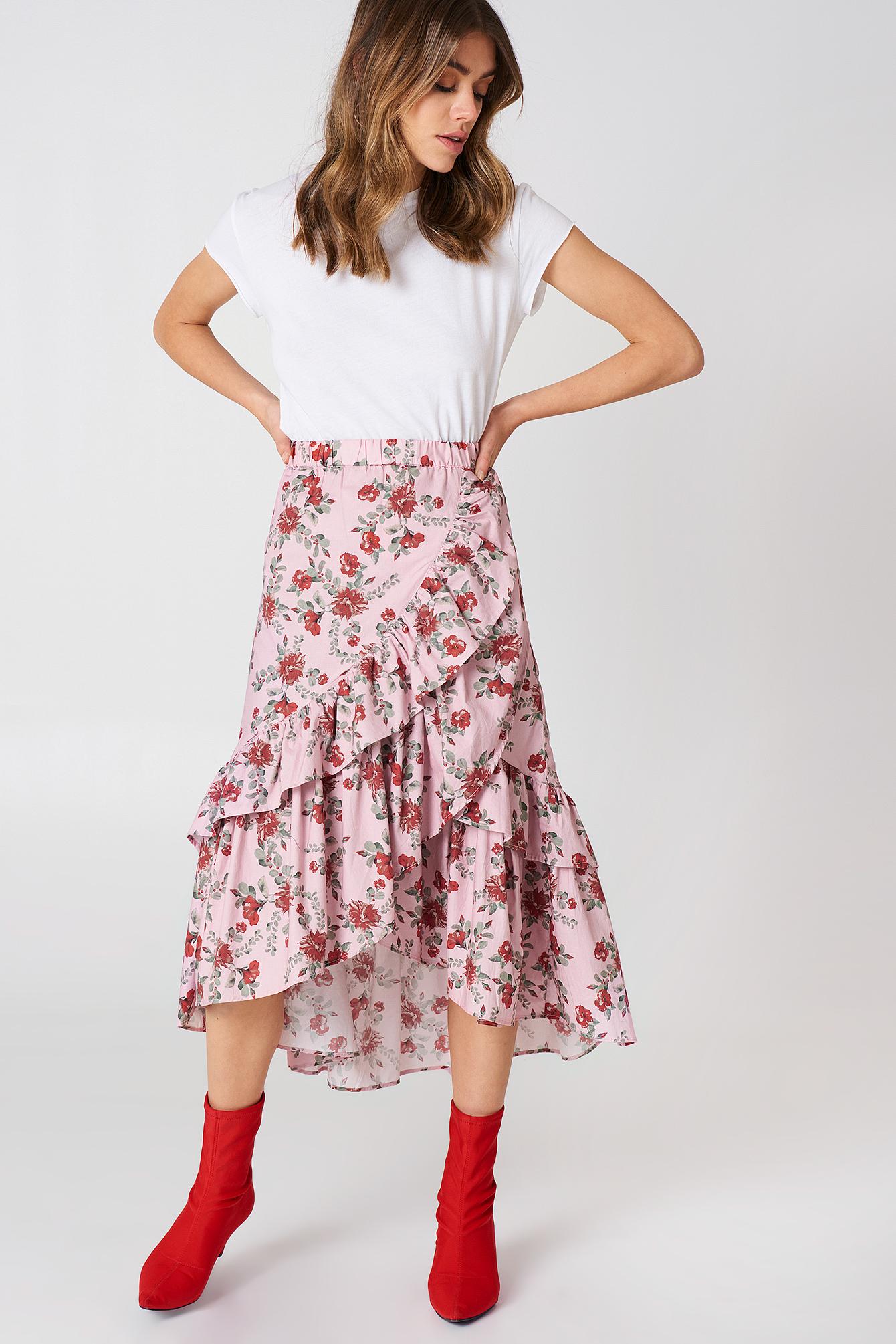 Overlap Maxi Frill Skirt NA-KD.COM