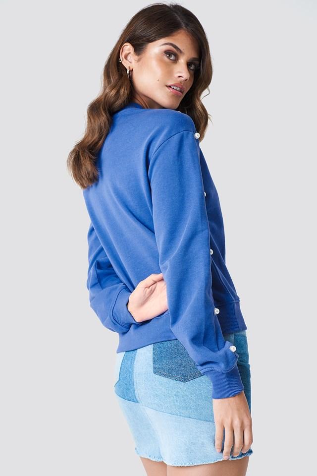 Pearl Sleeve Sweater Cobolt