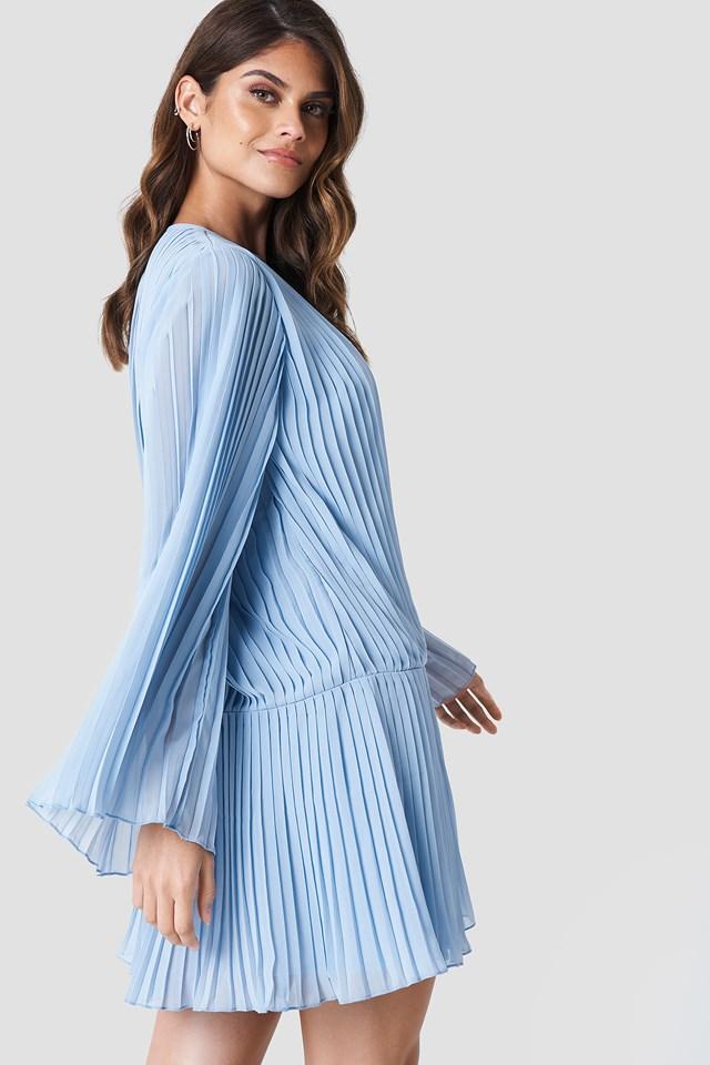 Pleated Asymmetric Flounce Dress Light Blue