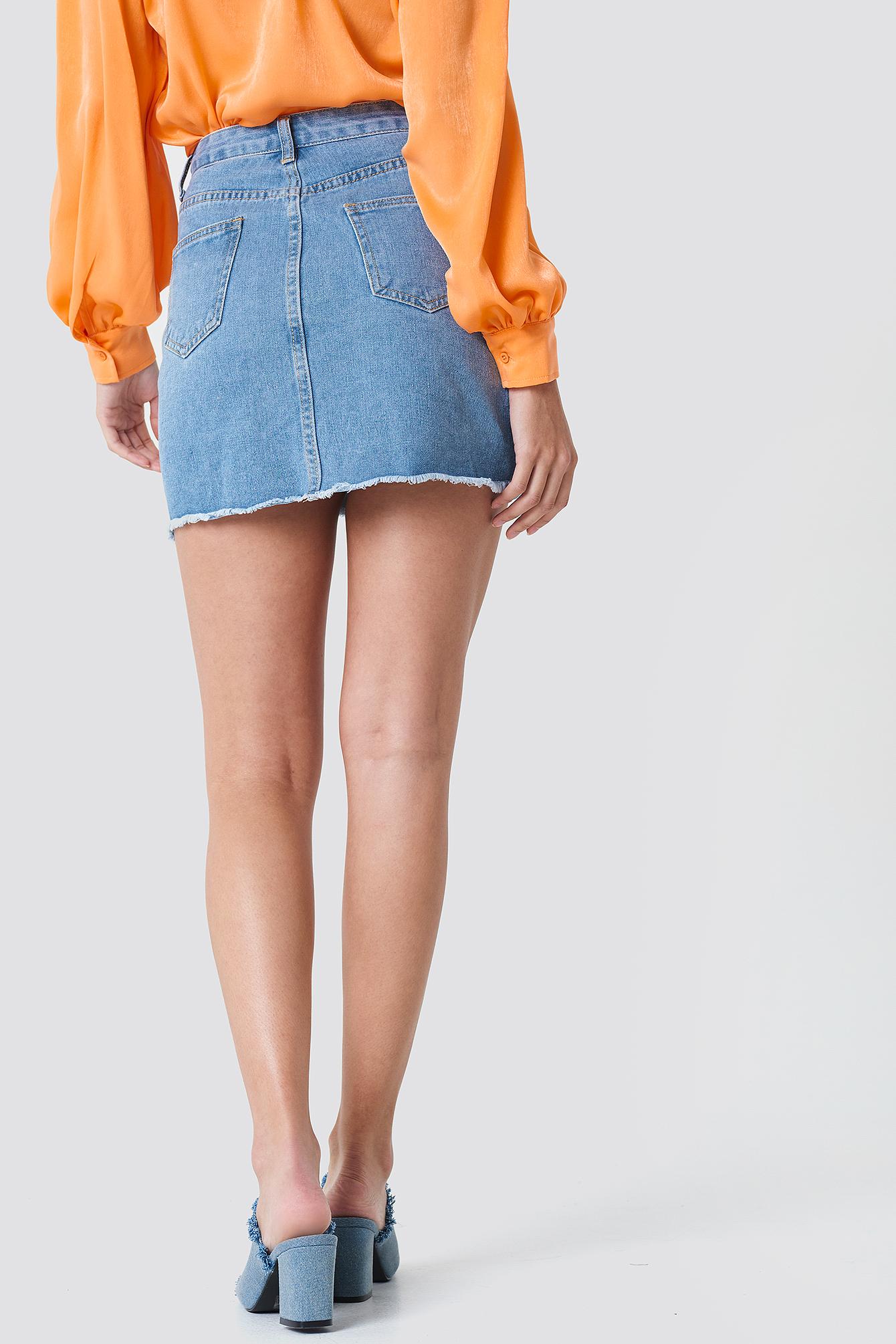 Spódnica jeansowa z rozdarciami NA-KD.COM
