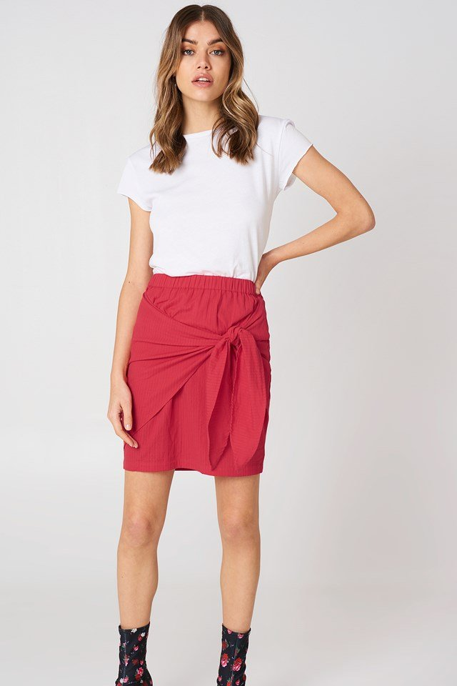 Side Knot Skirt Red