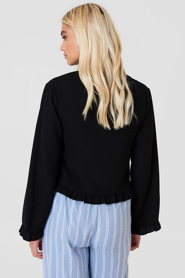 Trumpet Sleeve Frill Blouse Black