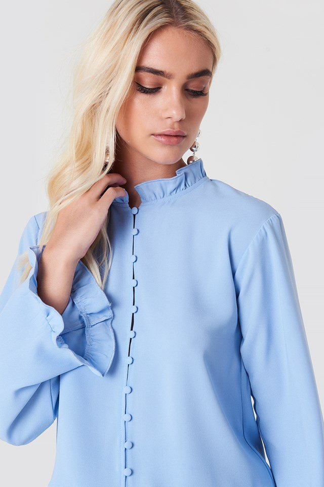 Trumpet Sleeve Frill Blouse Blue