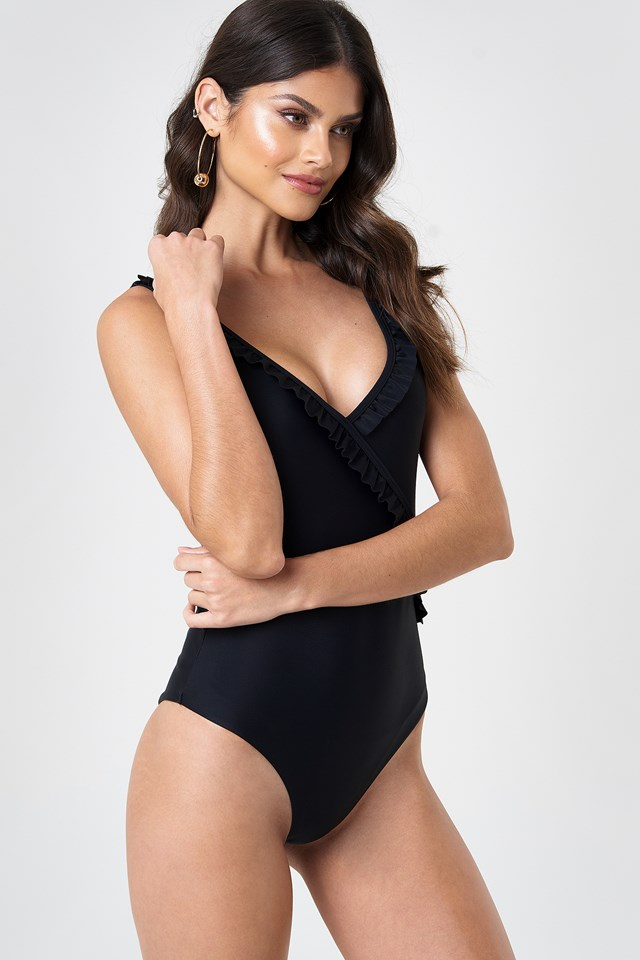 V-Neck Frill Swimsuit Black