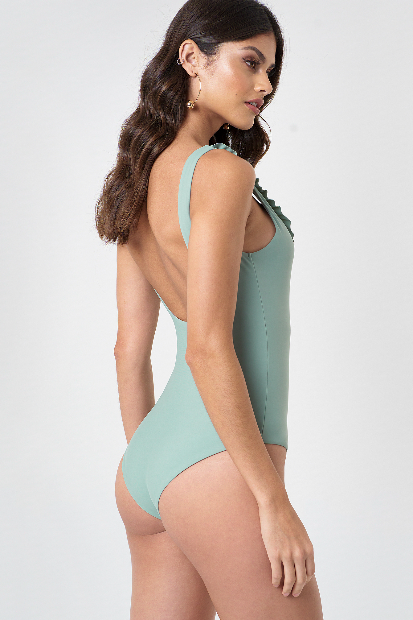 V-Neck Frill Swimsuit NA-KD.COM