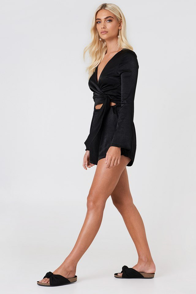 Wrapped Trumpet Sleeve Playsuit Black