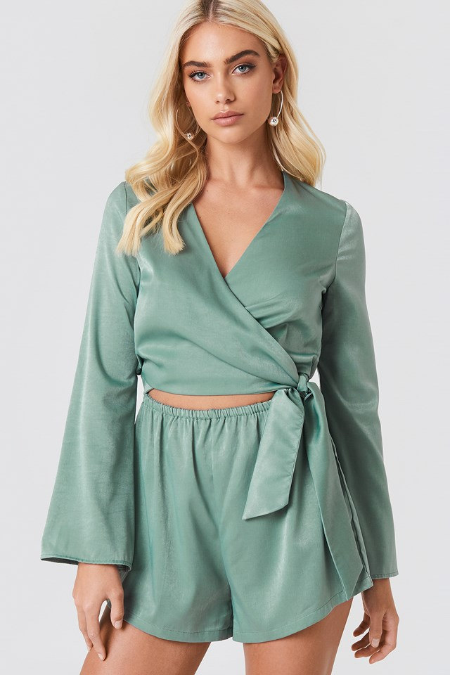 Wrapped Trumpet Sleeve Playsuit Dusty Green