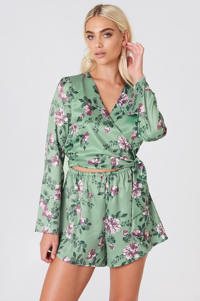 Wrapped Trumpet Sleeve Playsuit Green Flower