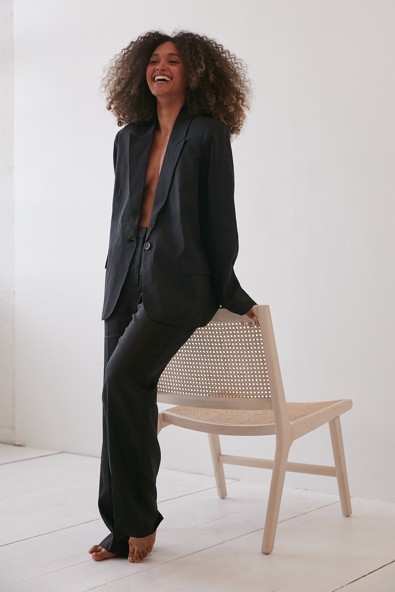 Black Linen Suit Pants
