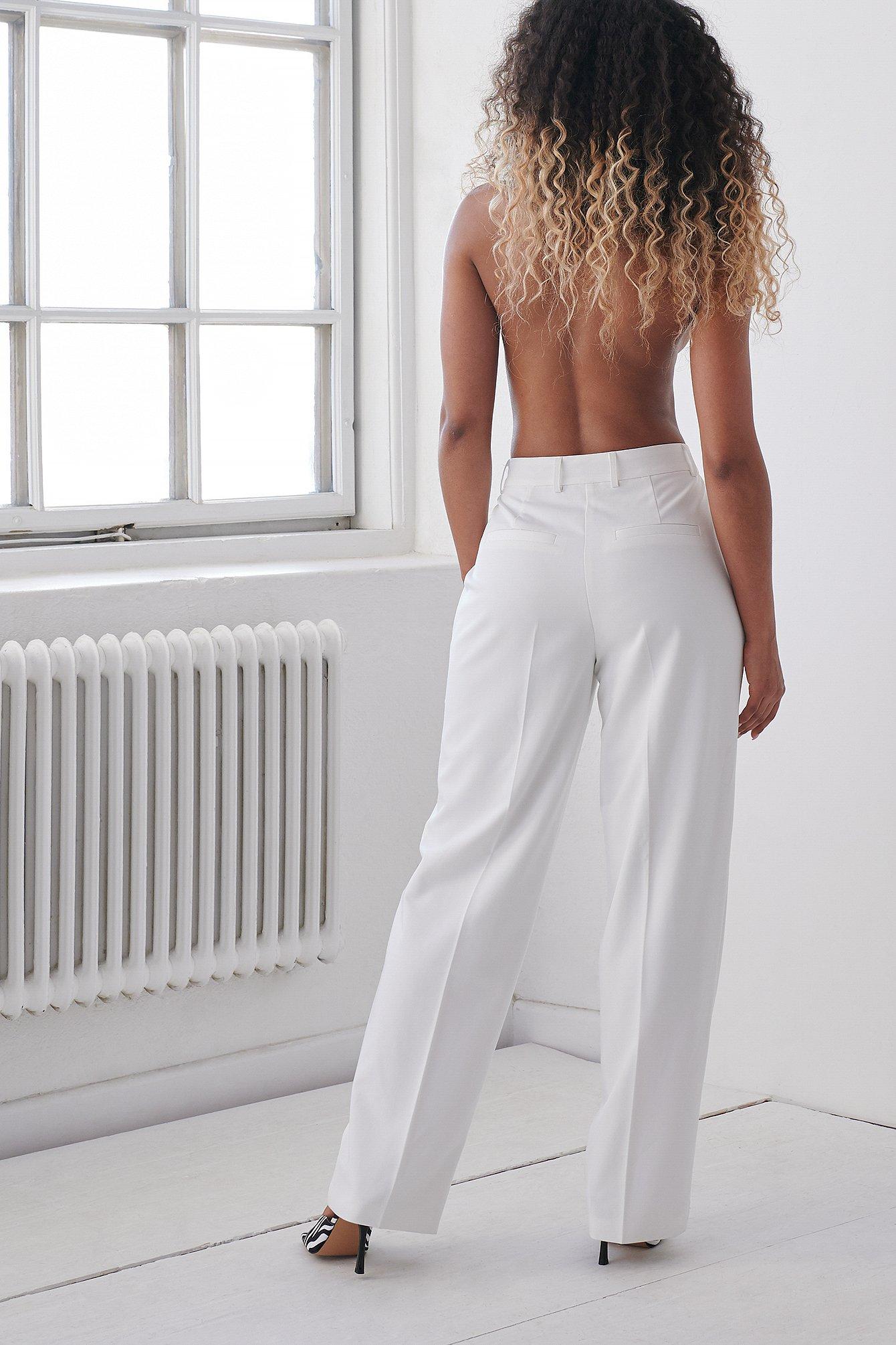 angelica blick x na-kd -  Anzughose Mit Faltendetail - White