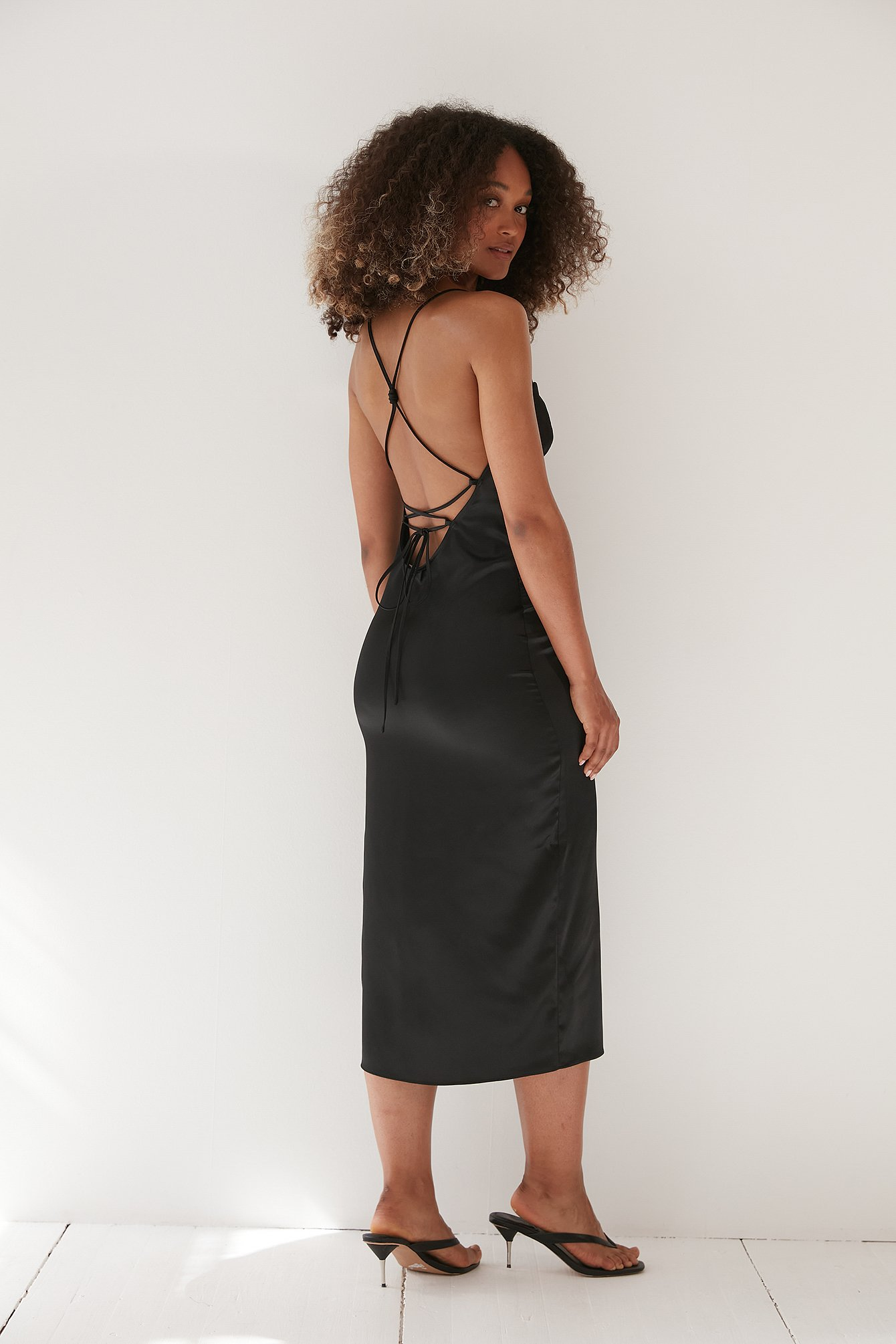 Black Strap Detail Slip Dress