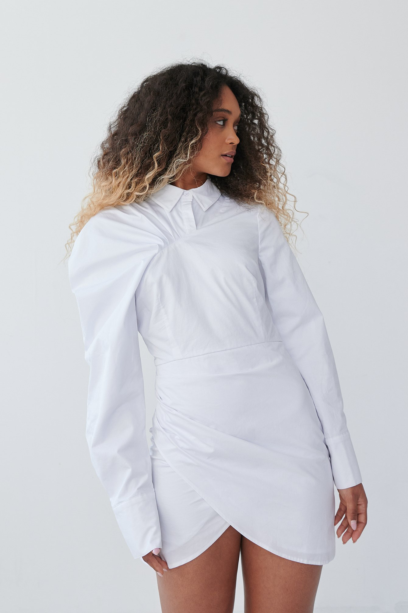 White Volume Sleeve Draped Detail Dress