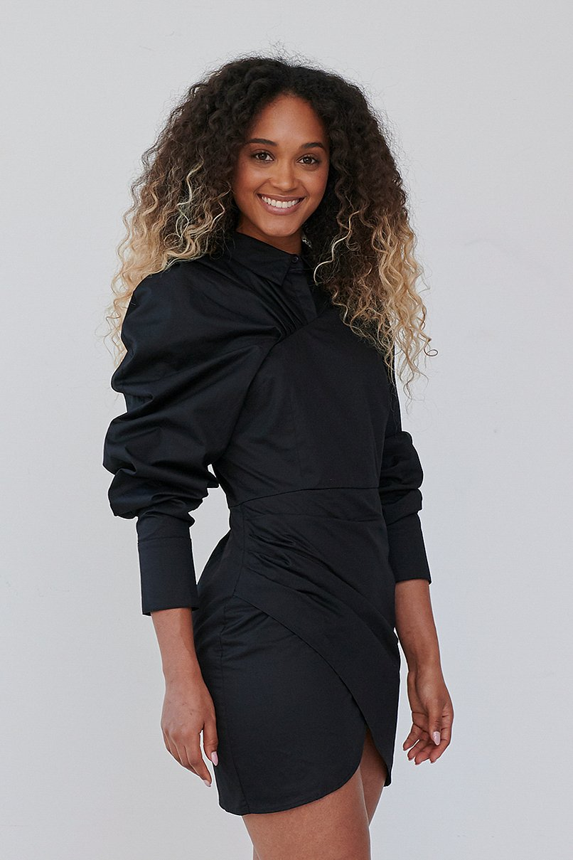 Black Volume Sleeve Draped Detail Dress