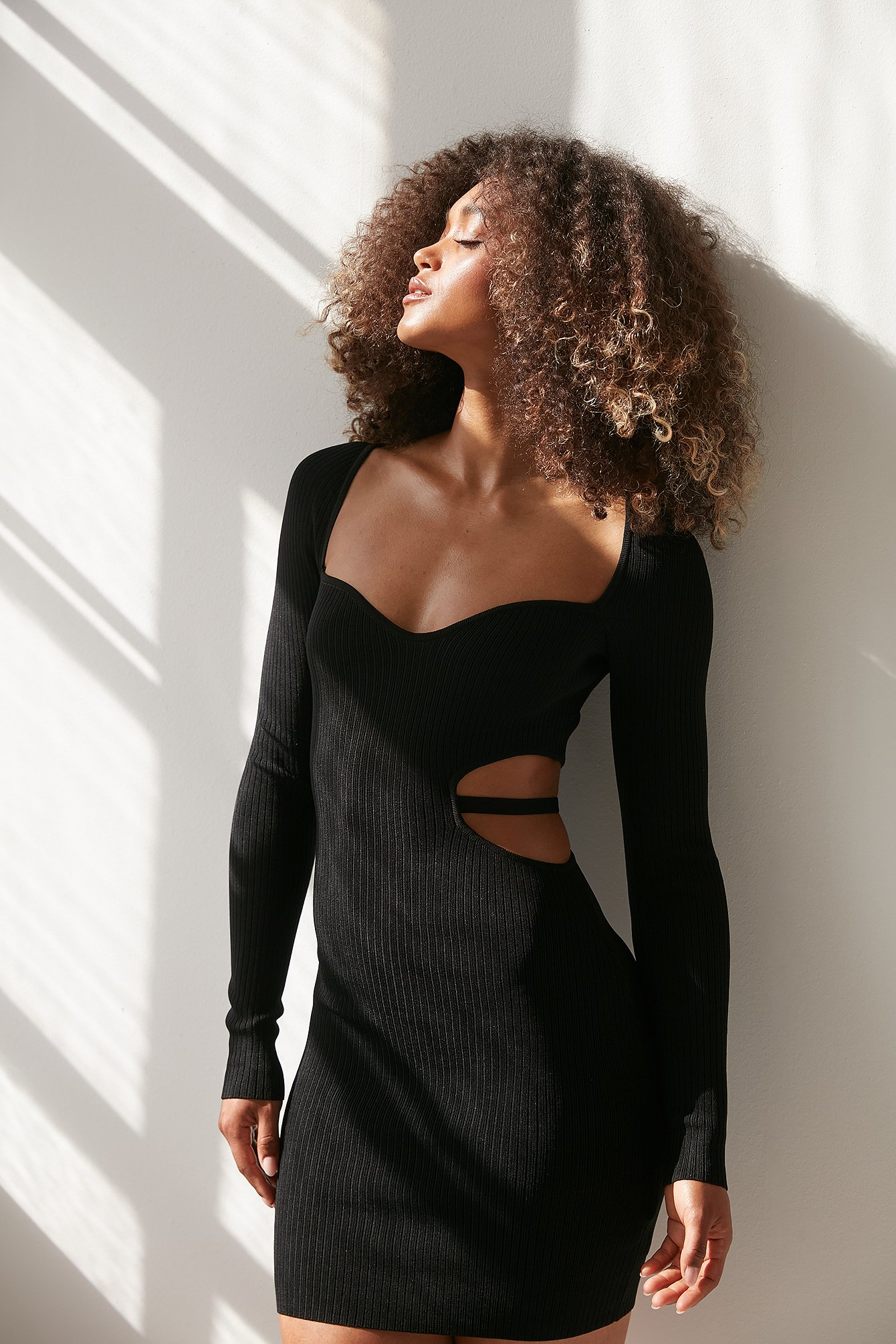 Black Wide Neck Long Sleeve Cut Out Dress