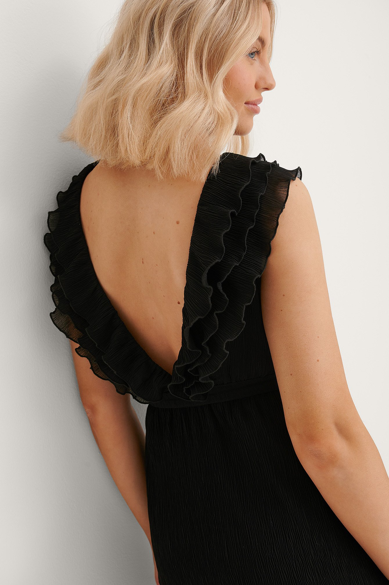Black V-Neck Flounce Detail Dress
