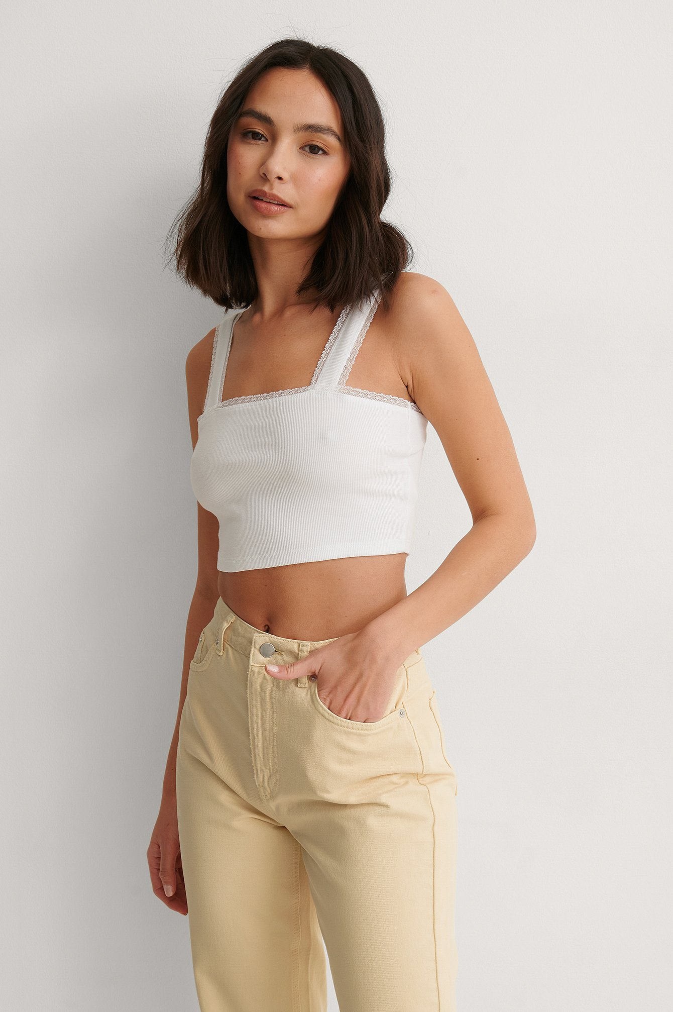 White Organic Cropped Ribbed Top