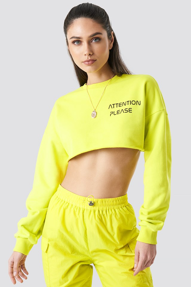 Attention Please Raw Cropped Sweater Lime